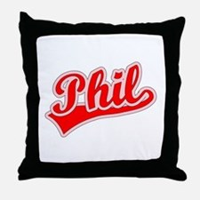 Retro Phil (Red) Throw Pillow