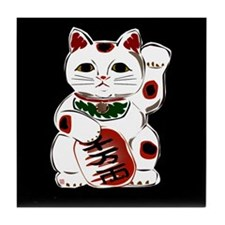 White Maneki Neko Tile Coaster