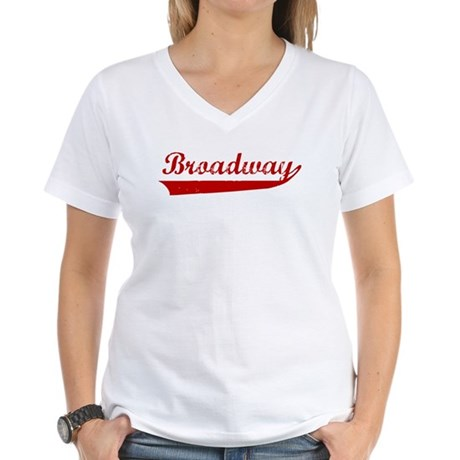 Broadway (red vintage) Women's V-Neck T-Shirt