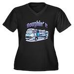 Roughin' it Women's Plus Size V-Neck Dark T-Shirt