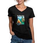 Eat. Sleep. Camp Women's V-Neck Dark T-Shirt