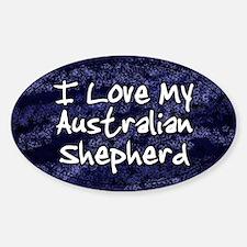 Funky Love Australian Shepherd Oval Decal