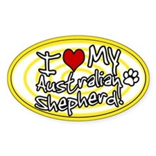 Hypno I Love My Australian Shepherd Sticker (Ylw)