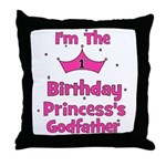 1st Birthday Princess's Godfa Throw Pillow