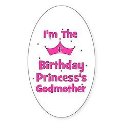 1st Birthday Princess's Godmo Oval Decal