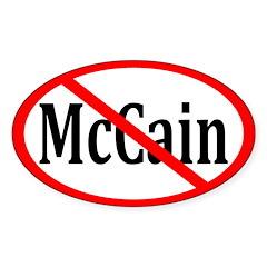Red Slash through McCain Oval Decal