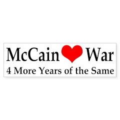 McCain Hearts War Bumper Bumper Sticker