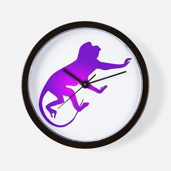 Tie Die Purple Monkey Wall Clock