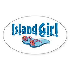 Island Girl 2 Oval Bumper Stickers