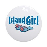 Hawaii girl Round Ornaments