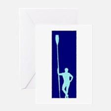 READY TO ROW BLUE LIGHT BLUE PAINTED Greeting Card