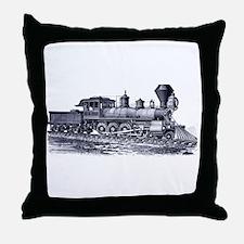 Locomotive (Blue) Throw Pillow