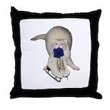 Ferret ice skate Throw Pillows