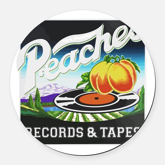 Peaches Records and Tapes logo Round Car Magnet