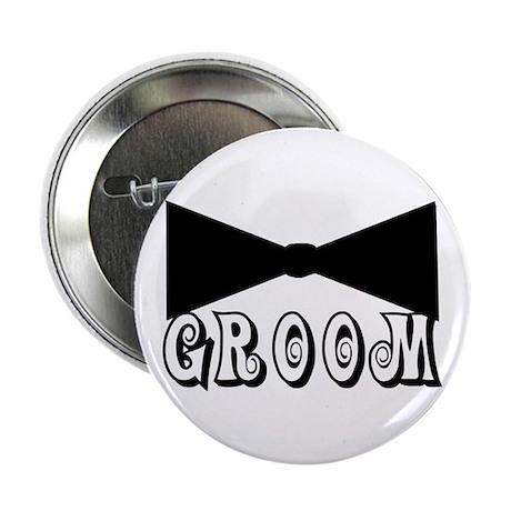 "Black Tie GROOM 2.25"" Button (100 pack)"
