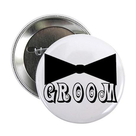 "Black Tie GROOM 2.25"" Button"