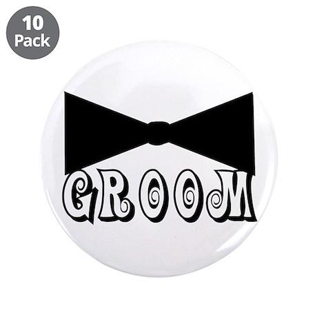 "Black Tie GROOM 3.5"" Button (10 pack)"