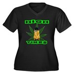 High Times Kitty Women's Plus Size V-Neck Dark T-S