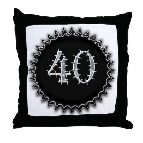 Black 40th Birthday Throw Pillow
