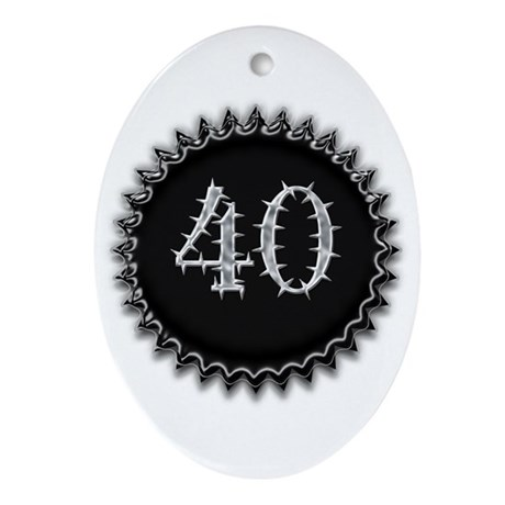 Black 40th Birthday Oval Ornament