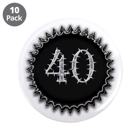 "Black 40th Birthday 3.5"" Button (10 pack)"