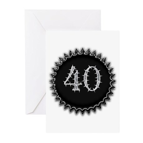 Black 40th Birthday Greeting Cards (Pk of 10)