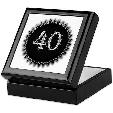 Black 40th Birthday Keepsake Box
