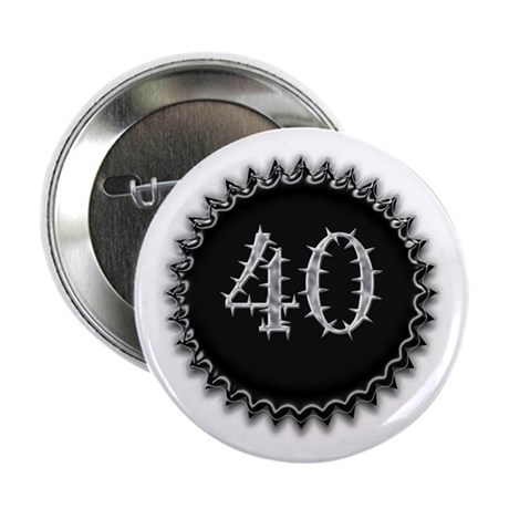 "Black 40th Birthday 2.25"" Button"