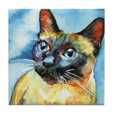 Blue Siamese Cat Tile Coaster