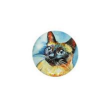 Blue Siamese Cat Mini Button