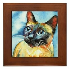 Blue Siamese Cat Framed Tile