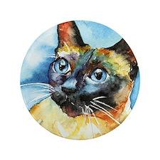 """Blue Siamese Cat 3.5"""" Button"""