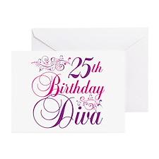 25th Birthday Diva Greeting Cards (Pk of 10)