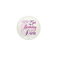 25th Birthday Diva Mini Button (10 pack)