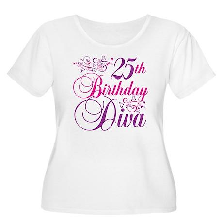 25th Birthday Diva Women's Plus Size Scoop Neck T-