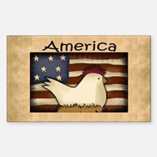 Country Chicken Rectangle Decal
