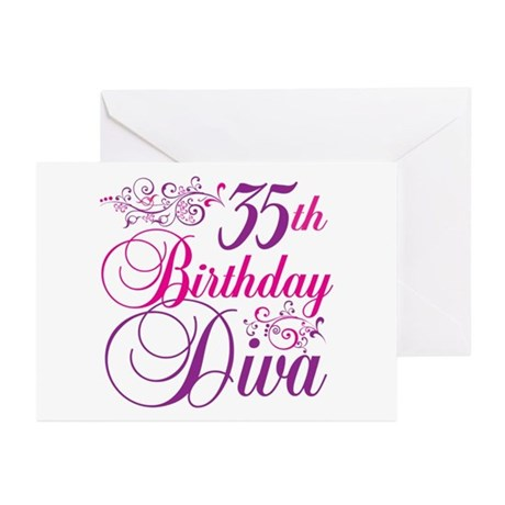 35th Birthday Diva Greeting Cards (Pk of 10)