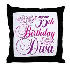 35th Birthday Diva Throw Pillow