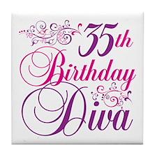 35th Birthday Diva Tile Coaster
