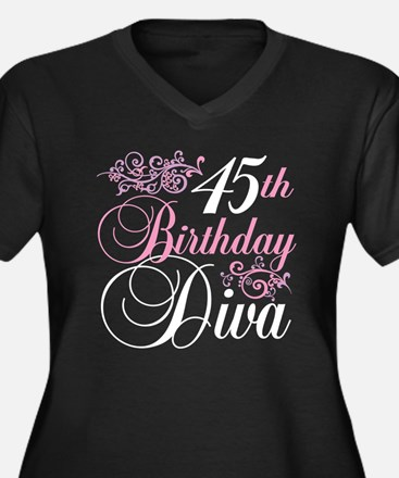 45th Birthday Diva Women's Plus Size V-Neck Dark T