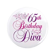 "65th Birthday Diva 3.5"" Button"