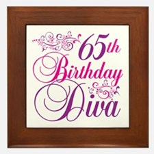 65th Birthday Diva Framed Tile