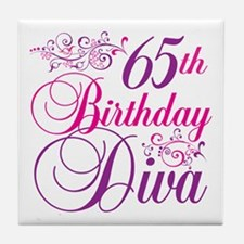 65th Birthday Diva Tile Coaster