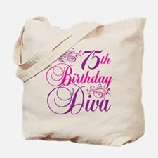 75th Birthday Diva Tote Bag