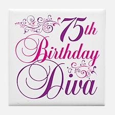 75th Birthday Diva Tile Coaster