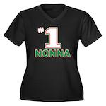 Nonna Women's Plus Size V-Neck Dark T-Shirt