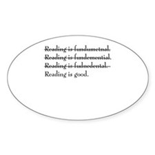 """Reading is fundamental"" Oval Decal"