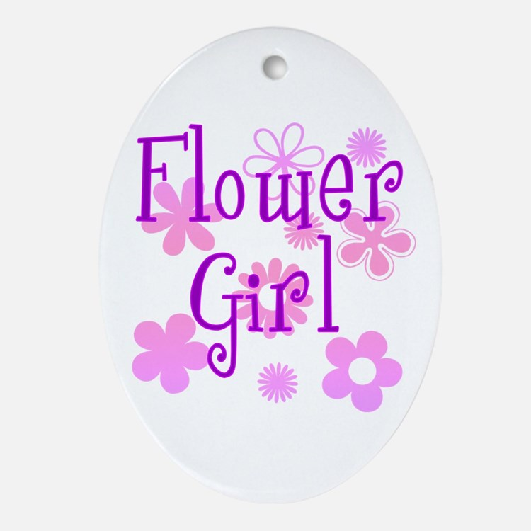 Pink and Purple Flower Girl Oval Ornament
