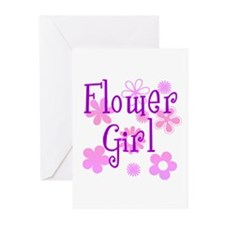 Pink and Purple Flower Girl Greeting Cards (Pk of
