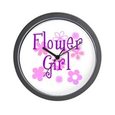 Pink and Purple Flower Girl Wall Clock